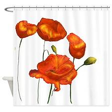 Poppies (orange) Shower Curtain