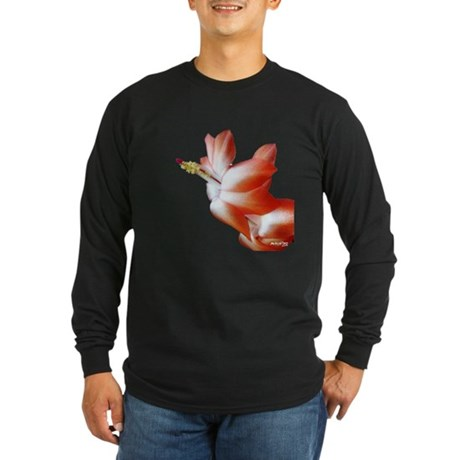 Orange Christmas Cactus Long Sleeve Dark T-Shirt