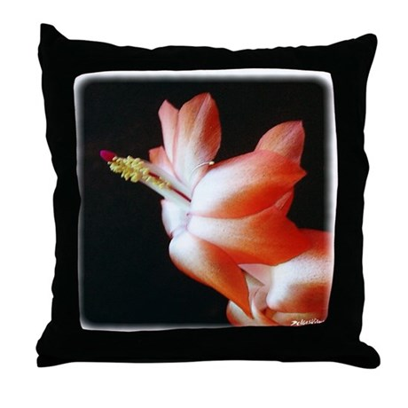 Orange Christmas Cactus Throw Pillow