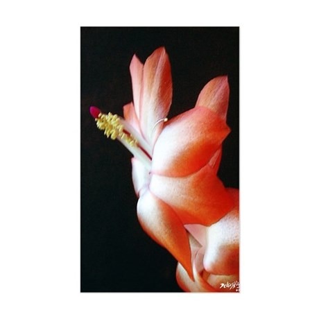 Orange Christmas Cactus Rectangle Sticker