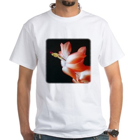 Orange Christmas Cactus White T-Shirt