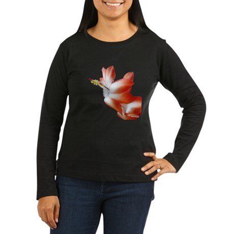 Orange Christmas Cactus Women's Long Sleeve Dark T