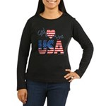God Bless the USA Women's Long Sleeve Dark T-Shirt