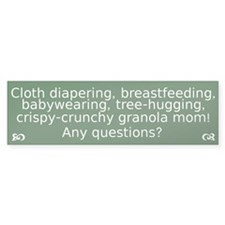 Cloth Diaper Attachment Parenting Bumper Bumper Sticker