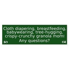 Cloth Diaper Attachment Parenting Bumper Car Sticker