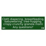 Cloth Diaper Attachment Parenting Bumper Sticker