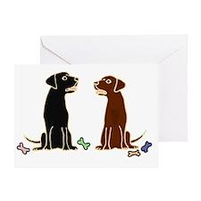Black and Chocolate Labrador Retriev Greeting Card