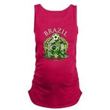 Brazil Soccer Dark Maternity Tank Top