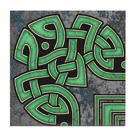 Celtic Border B Tile Green, Corner Section