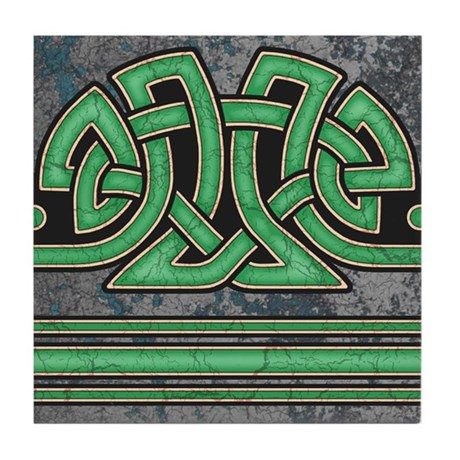 Celtic Border B Tile Green, Straight Section