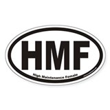 High Maintenance Female HMF Euro Oval Decal