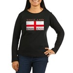 England St George Flag Women's Sleeved Black Shirt