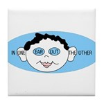 Blue In One Ear Tile Coaster