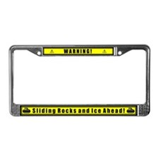 """Warning! Sliding Rocks..."" License Plate Frame"