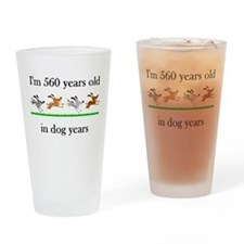 80 birthday dog years 1 Drinking Glass