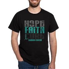 HOPE FAITH CURE Ovarian Cancer T-Shirt