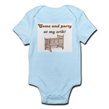 Come and party at my crib Blue Infant Bodysuit