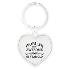 World's Most Awesome 65 Year Old Heart Keychain