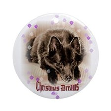 "Schipperke ""Christmas Dreams"" Ornament (Round)"