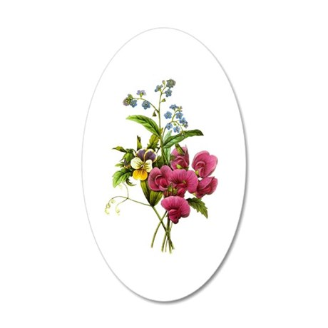 Redoute Bouquet 35x21 Oval Wall Decal