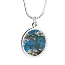 Waterlilies by Claude Monet, Silver Round Necklace
