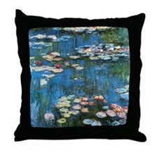 Waterlilies by Claude Monet, Vintage Throw Pillow