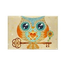 Owl's Summer Love Letters Rectangle Magnet