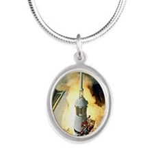 Appolo 11 Launch First moon l Silver Oval Necklace
