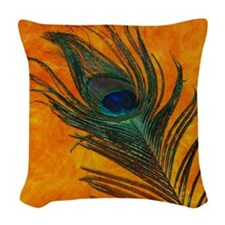 Peacock with Orange Woven Throw Pillow