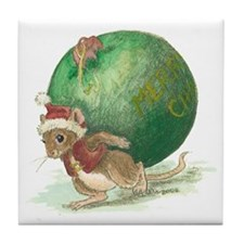 Mouse at Christmas Tile Coaster