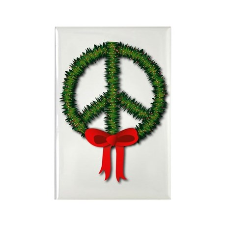 Peace Wreath Rectangle Magnet