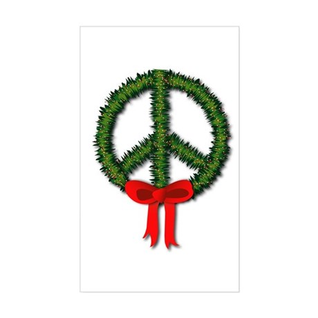 Peace Wreath Rectangle Sticker