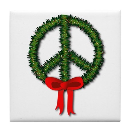 Peace Wreath Tile Coaster
