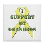 I Support My Grandson Tile Coaster