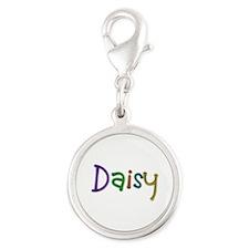 Daisy Play Clay Silver Round Charm