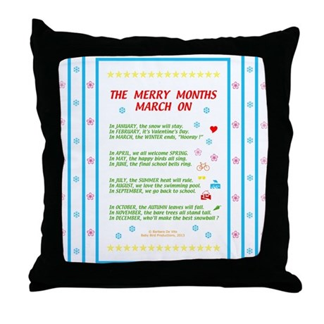 Months of the Year Poem Throw Pillow