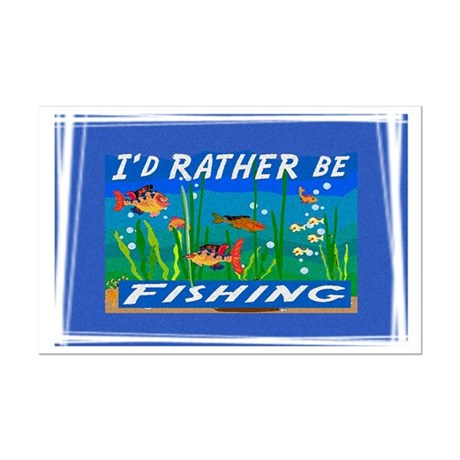Rather be Fishing Mini Poster Print