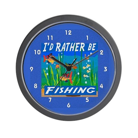 Rather be Fishing Wall Clock