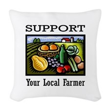 Support Your Local Farmer Woven Throw Pillow