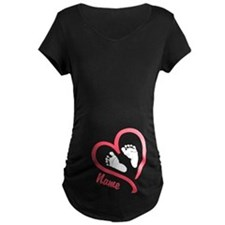 Baby Feet Pink Personalized Maternity T-Shirt
