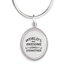 World's Most Awesome Godmother Silver Oval Necklac