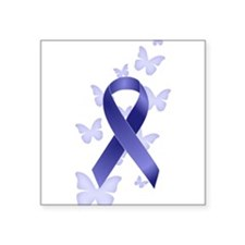 "Blue Awareness Ribbon Square Sticker 3"" x 3"""