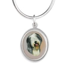 Cute Old english sheepdogs Silver Oval Necklace