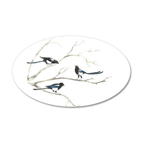 Watercolor Magpie Bird Family Animal Decal Wall St