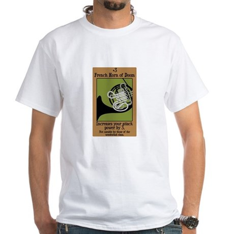 French Horn of Doom White T-Shirt