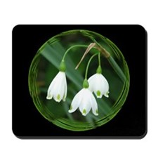 Snowflake Flowers Black Mousepad
