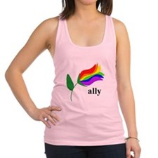 ally flower on clear with black text Racerback Tan