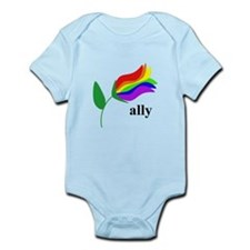 ally flower on clear with black text Body Suit