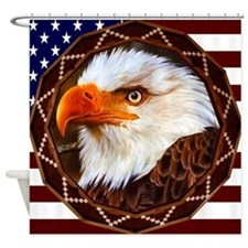 Geometric Bald Eagle Shower Curtain