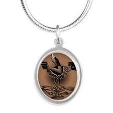 Mimbres Brn Quail Silver Oval Necklace